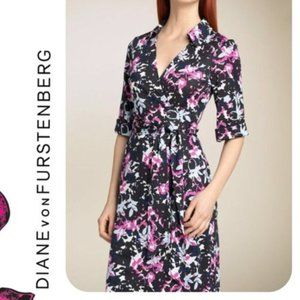 Silk Floral Jessica Wrap Dress Flower Cuff Sleeve
